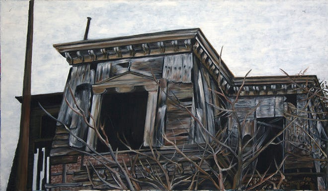 """Self Taught,"" the paintings of Michele Guttenberg and Neil Besignano, will be on display at  Hamilton Street Gallery in Bound Brook from Sunday, Jan. 19, through Thursday, Feb. 27. Pictured is ""Dilapidated Town Hall,"" oil on canvas, by Neil Besignano."