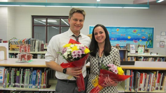 (Left to right): Holland Brook School GEOY recipients, Mike Roosen and Nicole Maraventano.