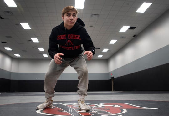 Fort Dodge junior Drake Ayala poses in a stance inside the Dodgers' practice room on Jan. 13, 2020. Ayala is a defending Class 3A state champion who's ranked No. 2 nationally at 120 pounds.