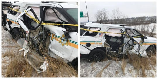 Photos from the Polk County Sheriff's Office show damage to a deputy car after a truck struck the vehicle and did not stop early Thursday, Jan. 16, 2020. The driver of the truck has not been located as of Thursday afternoon.