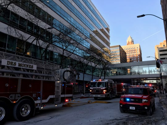 A fire was reported Thursday, Jan. 16, 2020, at the Capital Square office building in downtown Des Moines.