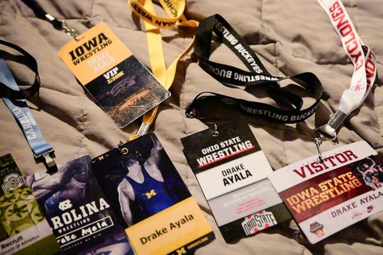 Drake Ayala is one of the most sought-after recruits in the country. Pictured here are his visit lanyards from his various college visits from last fall. The Fort Dodge junior is considering Iowa, Iowa State, Northern Iowa, Minnesota, Ohio State, North Carolina and Michigan.