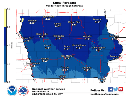 Des Moines could get 3 to 4 inches from a snowstorm on Friday and Saturday.