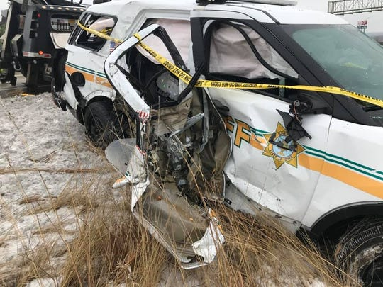 A photo from the Polk County Sheriff's Office shows damage to a deputy car after a truck struck the vehicle and did not stop early Thursday, Jan. 16, 2020. The driver of the truck has not been located as of Thursday afternoon. The deputy was not hurt.