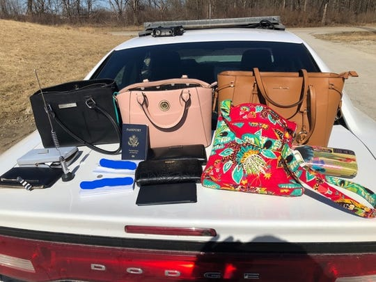 Stolen items seized from a car involved in a 2019 police chase in Indiana.  The women in the car were allegedly Felony Lane Gang members.