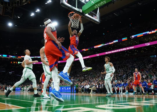 Pistons forward Christian Wood (35) dunks against the Boston Celtics in the second quarter at TD Garden on Jan. 15, 2020 in Boston.