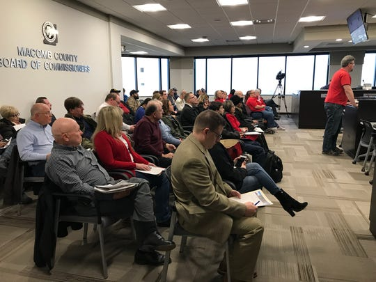 A man addresses the Macomb County Board of Commissioners about a proposed resolution declaring the county a Second Amendment sanctuary county at a committee meeting in the county administrative building in Mount Clemens on Jan. 15, 2020.