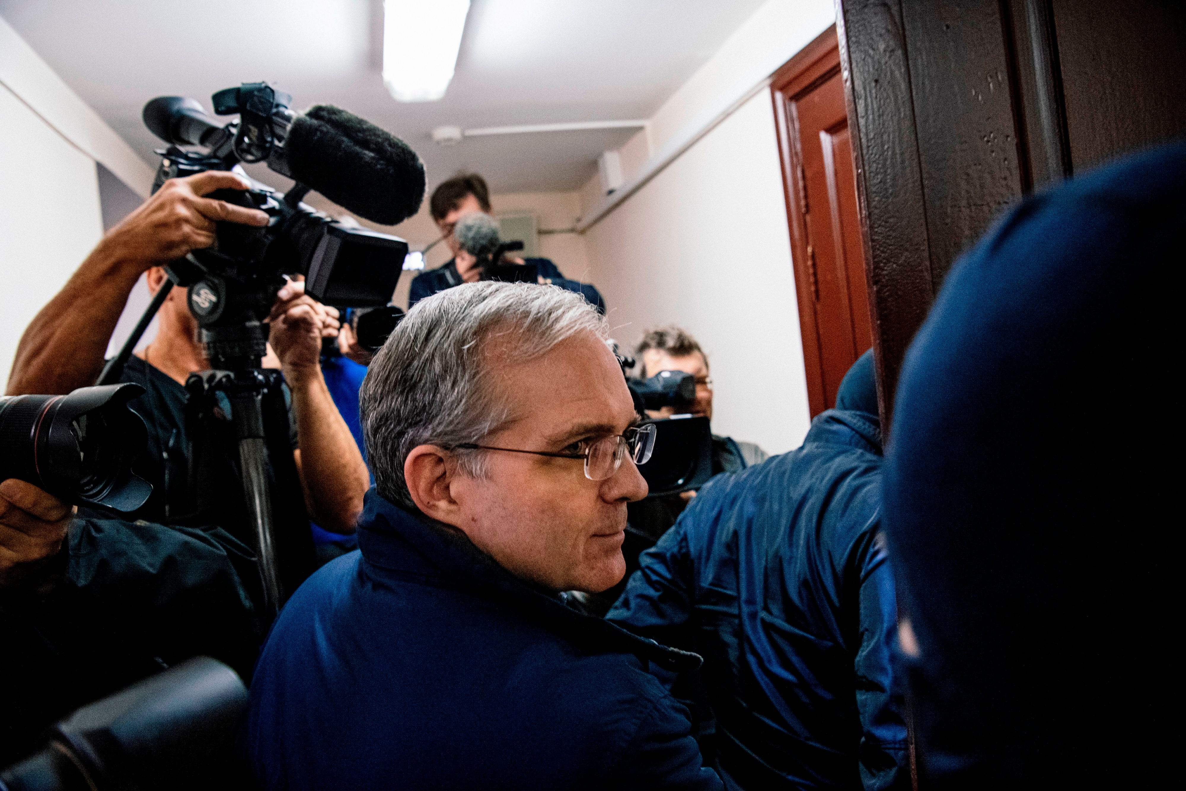 Paul Whelan, a former US Marine accused of espionage and arrested in Russia in December 2018, is escorted for a hearing to decide to extend his detention at the Lefortovo Court in Moscow on October 24, 2019.