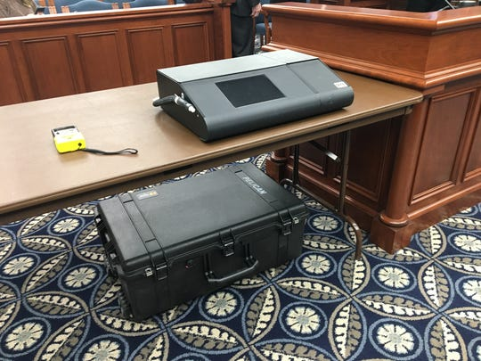 A breathalyzer machine seen at a Senate Judiciary meeting in Lansing, Mich. on Thursday, Jan. 16, 2019.