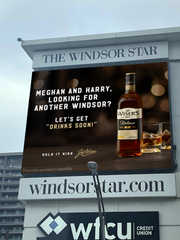 J.P. Wiser's welcoming billboard for Harry and Meghan