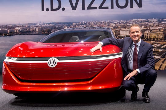 Volkswagen AG Chief Executive Officer Herbert Diess presents the I.D. Vizzion at the 88th Geneva International Motor Show in this March 6, 2018, file photo.