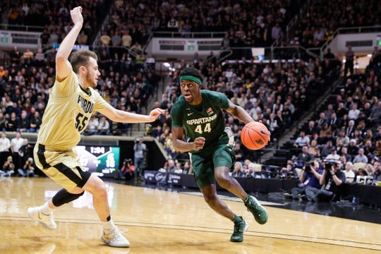 Gabe Brown (44) and Michigan State shot 2 of 16 from 3-point range in Sunday's loss at Purdue.