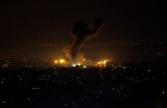 An explosion caused by Israeli airstrikes is seen on Gaza City, Wednesday, Jan. 15, 2020.