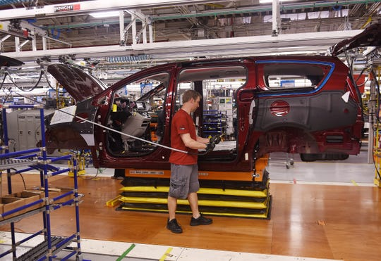 A worker assembles a Chrysler Pacifica at Windsor Assembly in Ontario.  The U.S. Senate on Thursday approved President Donald Trump's replacement for the North American Free Trade Agreement.