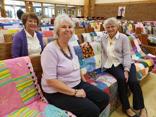 Among St. Michael Quilters are, from left, Judy Morris, Sherry Lee and Elise Locke.
