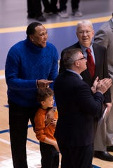 Four-time NBA All-Star and 2011 champion with the Dallas Mavericks Shawn Marion is honored with a special halftime ceremony at Vincennes University Wednesday night, Jan. 15, 2020. Marion got his start playing with the Trailblazers from 1996-98. His son, also Shawn, 5, watched the introductory video of his dad's highlights with him.