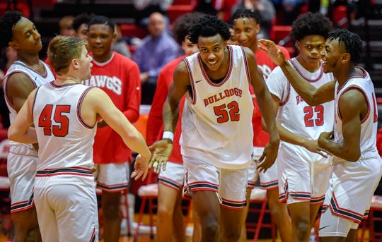Bosse's Kiyron Powell (52) in introduced as the Castle Knights play the Bosse Bulldogs in the first round of the boys Southern Indiana Athletic Conference tournament at Bosse Tuesday evening, January 14, 2020.