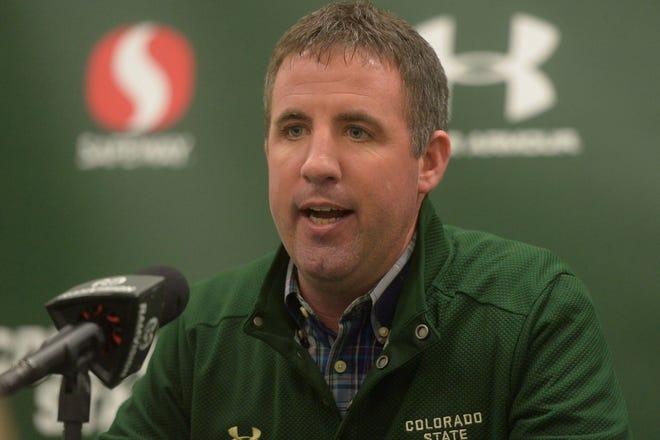 Colorado State football offensive coordinator Joey Lynch talks to media at Canvas Stadium on Thursday, Jan. 16, 2020.