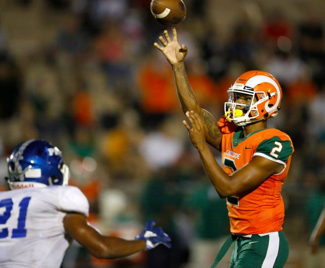 Eastside High School quarterback Anthony Richardson (2) throws a pass over the defense during a game Sept. 6, 2019, against PK Yonge at Citizens Field in Gainesville, Fla. Richardson already contributed at UF when he played the role of the Virginia quarterback in Orange Bowl preparations in Gainesville.
