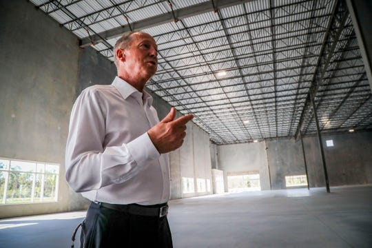 Real estate broker Dan Miller talks about the space during a tour Wednesday morning. They are days away from having their first two tenants move in. This mega complex of industrial and storage buildings going up near the airport will be as big as the Edison Mall. We're talking, eventually, about up to 1.8 million square feet of industrial space on 225 acres. The project is called Premiere Airport Park.
