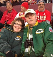 Tom and Judy Freeman, California residents, at the Green Bay Packers-San Francisco 49ers playoff game on Jan. 12, 2013, at Candlestick Park in San Francisco.