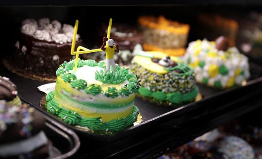 Green Bay Packers-themed mini cakes on display at Festival Foods on Jan. 16, 2020, in Bellevue, Wis.