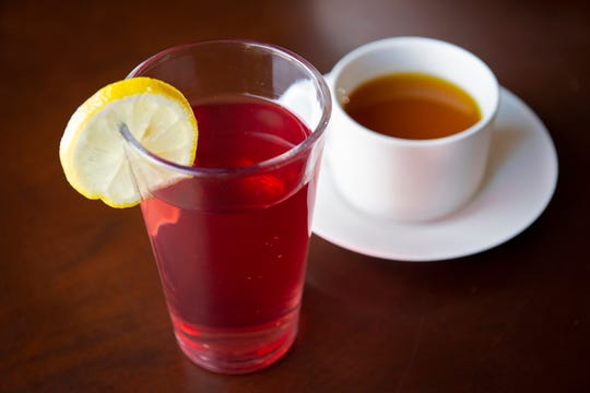 C-burst drink with cranberry and pomegranate juice, apple cider, vinegar, lemon and vitamin C, and a digestive vata tea with ginger, cardamom, cinnamon, ajwan and fennel.