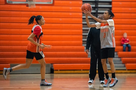 Anaya Muhammad, of the Southside High School girls basketball team during practice Thursday, January 9, 2020.
