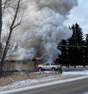 Fire fighters are battling a house fire in sub zero temperatures this afternoon.