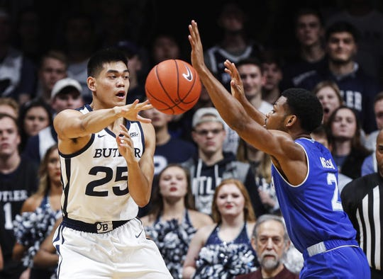 Butler Bulldogs forward Christian David (25) passes the ball against Seton Hall Pirates guard Anthony Nelson (2) at Hinkle Fieldhouse, Indianapolis, Wednesday, Jan. 15, 2020.
