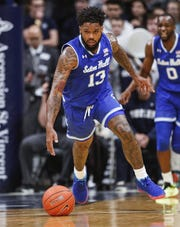 Seton Hall Pirates guard Myles Powell (13) dribbles the ball up court at Hinkle Fieldhouse, Indianapolis, Wednesday, Jan. 15, 2020.