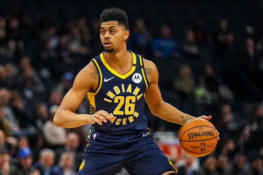 Jan 15, 2020; Minneapolis, Minnesota, USA; Indiana Pacers guard Jeremy Lamb (26) looks to pass during the first quarter against the Minnesota Timberwolves at Target Center.