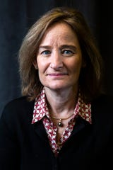 Rachel Bronson, president and CEO of the Bulletin of the Atomic Scientists, poses for a photo, Thursday, Jan. 16, 2020, in Iowa City, Iowa.