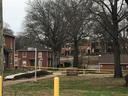 Part of an Allenton Heights apartment complex is taped off as Jackson police investigate a potentially drug-related shootout that injured three people on Jan. 16, 2020.