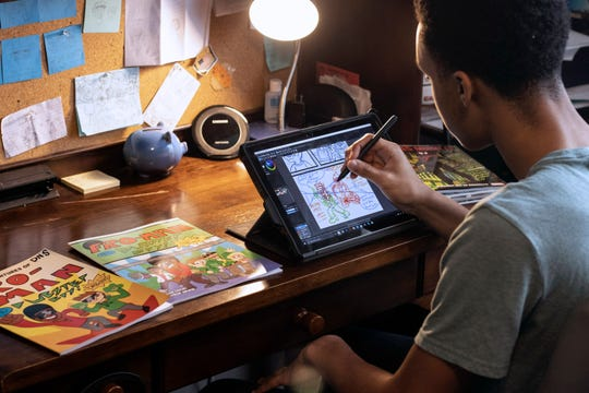 David Crosby uses a tablet to do the illustrations and formatting for his self-published comic Fro-Man. 1/12/2020