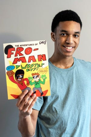 North Oldham High School senior David Crosby uses Amazon.com to self publish his comic book Fro-Man. 1/12/2020