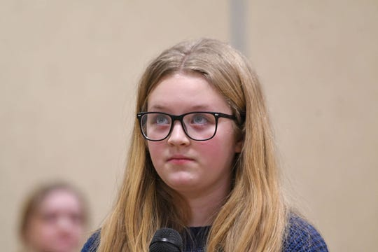Addison Sigler looks for the next letter during the Richland County Spelling Bee on Thursday.