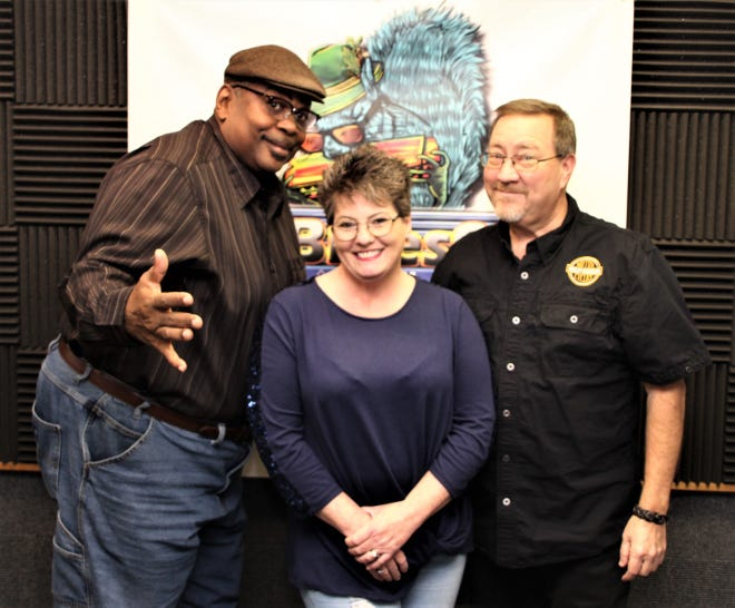 Scott Shawver, right, is the new owner and morning show host at radio station TruBlues975 WDIF-LP FM in Marion. Shawver started the morning show on the station this week. It runs from 6 to 10 a.m. weekdays. Silky Ray Macklin, left, will continue to host the Mid-Morning Blues Break from 10 a.m. to noon weekdays. Lisa Tackett, center, is the station's new sales manager.