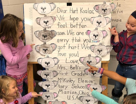 When Cathy Bell's first-grade students at William McKinley Elementary School in Marion learned about the devastating fires that have ravaged across Australia and saw some of the animals that were in harm's way, they wanted to do something. The card from the Marion City School District students has reached tens of thousands of people around the world thanks to social media.