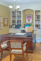 A first-floor bedroom in the East Memphis home has been repurposed into an office for Alan and Millie Katzen.