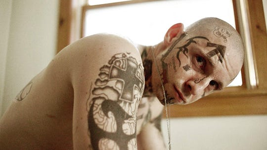 "Jamie Bell is a white supremacist in ""Skin."""