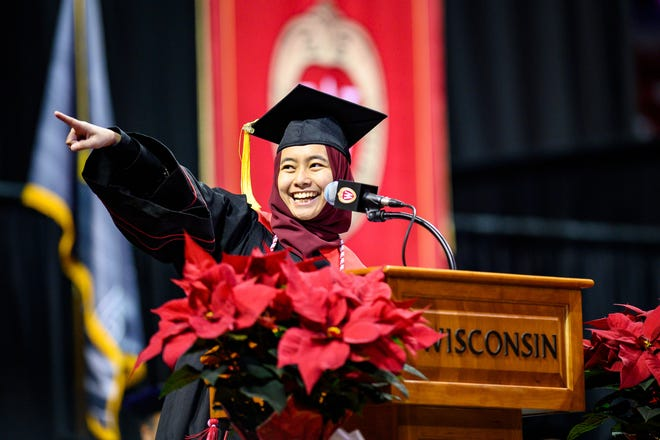 UW graduate and student keynote speaker Lisa Kamal's speech at winter commencement ceremony has gone viral. The ceremony was held at the University of Wisconsin-Madison on Dec. 15, 2019.