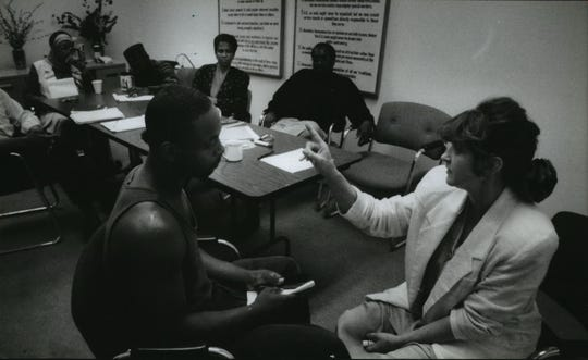 A 1994 Milwaukee Journal photo shows psychiatrist Marta Muller working with client Anthony Pearson as part of a program of desensitization techniques. The therapy helps people block out traumatic events.