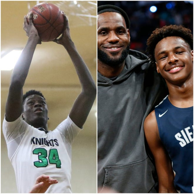Alex Antetokounmpo, left, brother of Bucks star Giannis Antetokounmpo, and Dominican will face off against Sierra Canyon, which features Bronny James, the son of LeBron James, and Zaire Wade, the son of Dwyane Wade, on Saturday.
