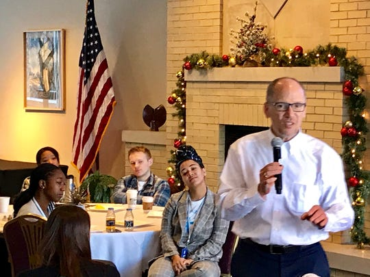 Democratic National Committee Chair Tom Perez speaks to students at an Organizing Corps 2020 event in Madison.