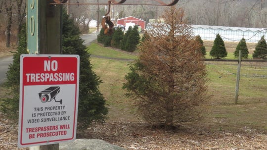 A sign on Old Boonton Road in Boonton Township Jan. 16, 2020, warns away trespassers at the former Hamilton Farms, which was purchased in 2018 by an international firm intent on growing medical marijuana there.  The company received approval to grow from the New Jersey Department of Health on Jan. 16, 2020.