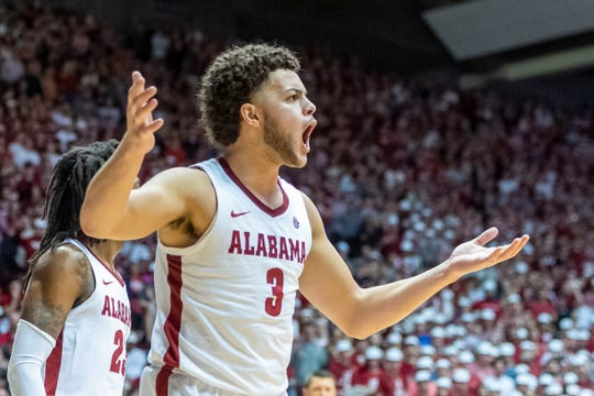 Alabama forward Alex Reese (3) reacts to a call during the first half of an NCAA college basketball game against Auburn, Wednesday,  Jan. 15, 2020, in Tuscaloosa, Ala. (AP Photo/Vasha Hunt)