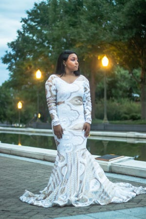 """This contributed photo shows a dress by local designer Kenya """"KemyK"""" Crumble."""