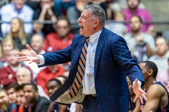 Auburn head coach Bruce Pearl shouts during the first half of an NCAA college basketball game against Alabama, Wednesday, Jan. 15, 2020, in Tuscaloosa, Ala. (AP Photo/Vasha Hunt)