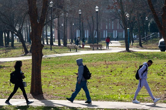 Students walk through campus at Tennessee State University Thursday, Jan. 16, 2020, in Nashville, Tenn.
